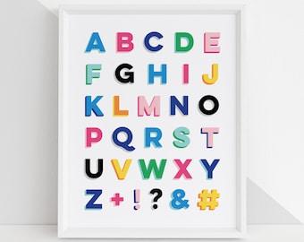 A to Z ABC Alphabet DIY Printable Digital Wall Art Prints - childrens bedroom kids playroom nursery home decor - 4x6 5x7 8x10 8.5x11 11x14