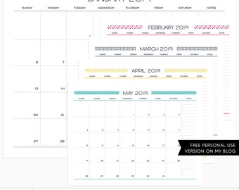 Live Free : Love Life 2019 Calendar - Horizontal + EURO Digital Templates - instant download - limited commercial use ok