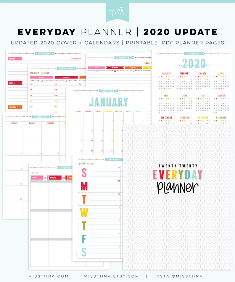 2020 Everyday Planner Update  NOW EDITABLE  Happy Classic image 0