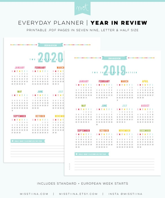 2020 Year In Review.2019 2020 Year In Review Calendars Everyday Planner Pages Three Sizes Letter Half Seven Nine Pdf Printable Organizer Inserts