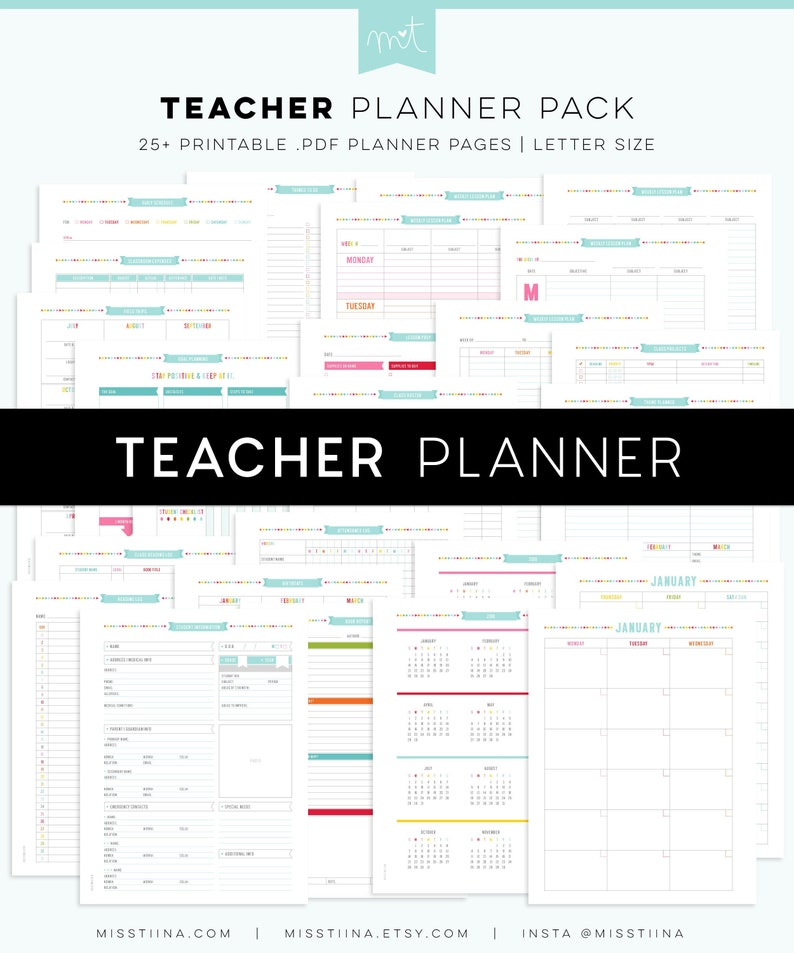 picture about Etsy Printables titled Instructor Planner - Editable PDF Electronic Printables - Letter Measurement - arrange your learners, lesson programs - outstanding for clroom + homeschooling
