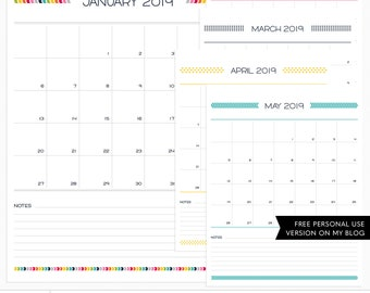 Live Free : Love Life 2019 Calendar + EURO Digital Templates - instant download - limited commercial use ok