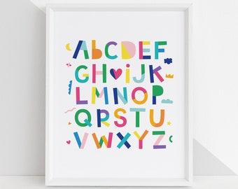 Hip Hip Yay ABC's DIY Printable Digital Wall Art Prints - childrens bedroom kids playroom nursery home decor 4x6 5x7 8x10 8.5x11 11x14
