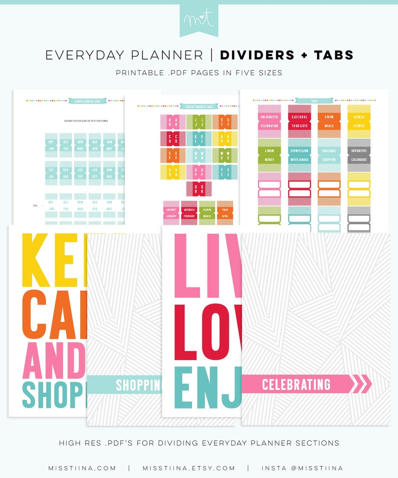 photograph relating to Divider Tabs Printable titled Dividers + Tabs - Each day Planner Web pages - 5 Measurements - PDF Printable Organizer Inserts