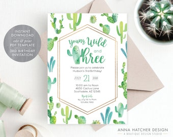 Young Wild And Three Cactus 3rd Birthday Party Invitation