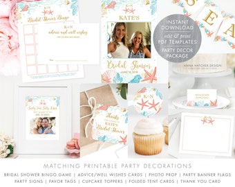 beach bridal shower decorations diy printable pdf bingo advice card photo prop banner sign tags cupcake labels thank you ws5
