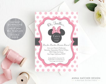 Minnie Mouse Invitation Editable Birthday Template Pink Party DIY Printable PDF Instant Download BDAY1