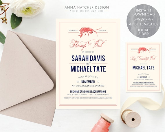 Low country boil rehearsal dinner invitations.