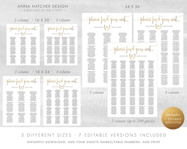 7 Editable PDF Templates 24x36 Faux Gold Wedding Table Seating Chart 18x24 Wedding Seating Chart 16x20 DIY printable poster WED1BDAY