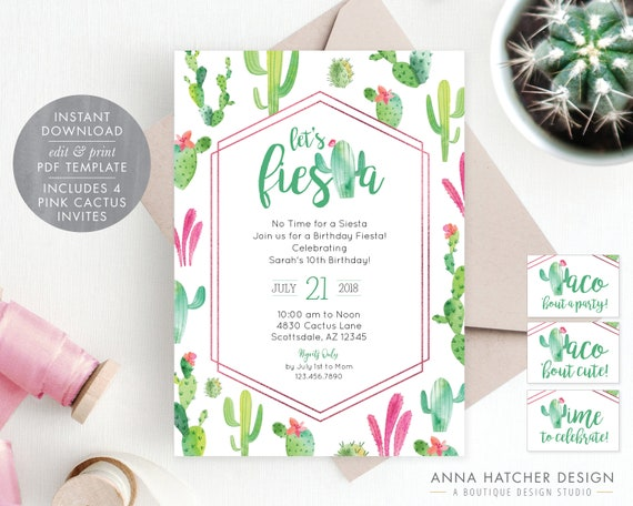 cactus invitations in pink taco bout a party taco etsy
