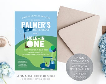 Hole In One Birthday Invitation, Hole-In-One Golf Birthday Par-tee Editable Photo Invitation, Golf Party Any Age, PDF Instant Download BDAY2
