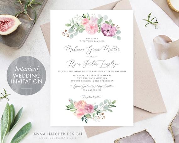 Invitation INSTANT DOWNLOAD RSVP Details Easy to Edit text in Free Program Adobe Reader Pink Marble Wedding Invitation Suite