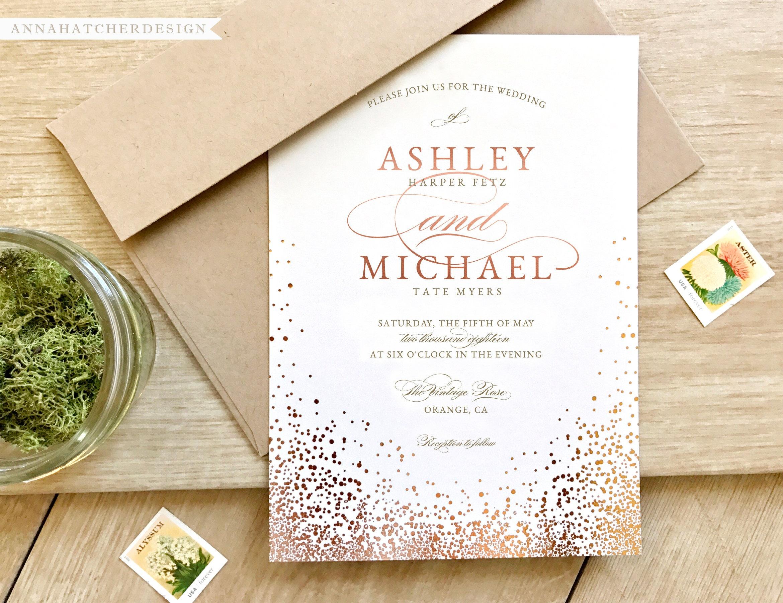 Wedding Invitations Rose: Rose Gold Wedding Invitation Metallic Or Matte Paper Rose