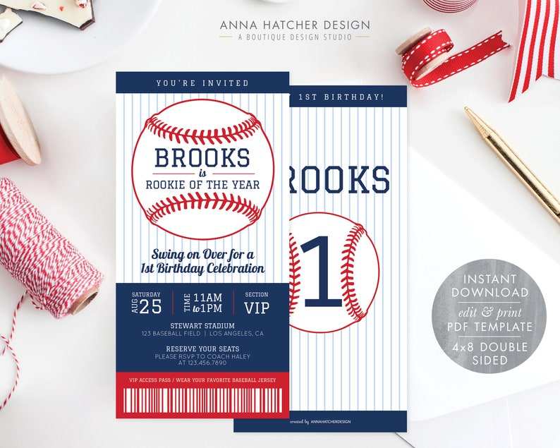 Baseball Birthday Party Invitation 4x8 Ticket Invite Rookie Of The Year Blue Red 1st 2nd Any Age Edit Yourself PDF BDAY25