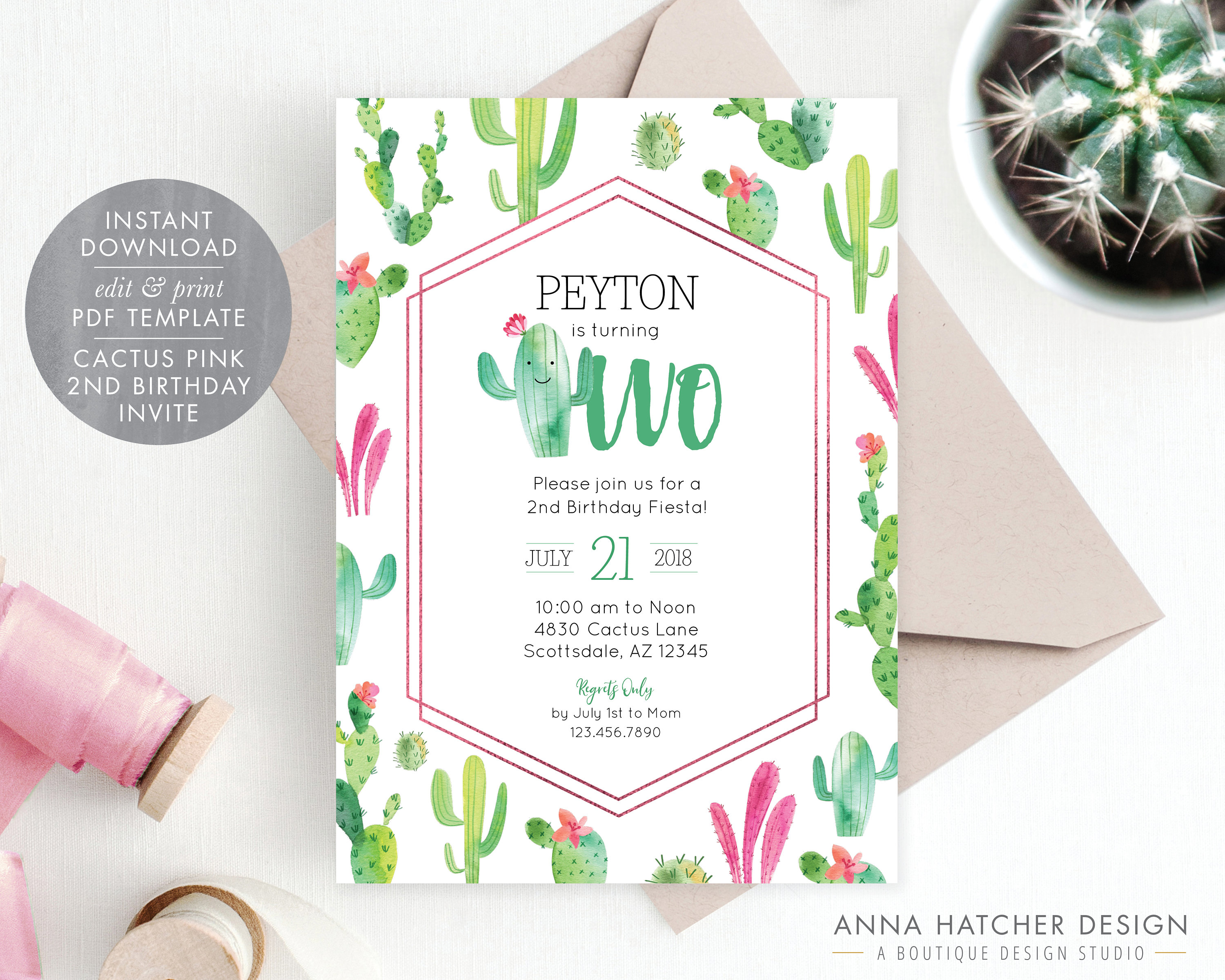 Cactus Pink 2nd Birthday Party Invitation Girl Invite Turning Two Fiesta Editable PDF BDAY23