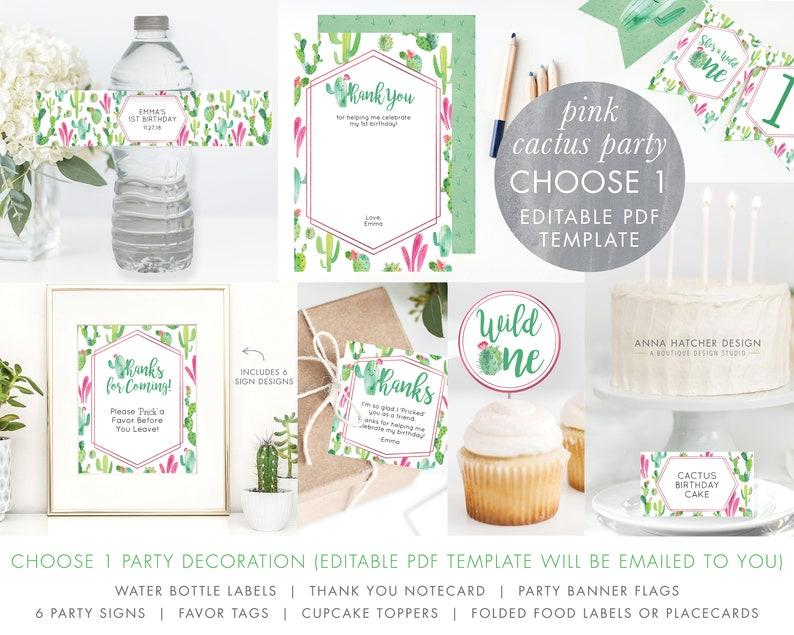 Cactus Pink Birthday Party Decoration 1 Template DIY PDF