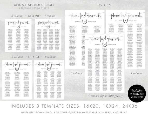 Wedding Table Seating Chart in Black, Edit Yourself PDF Template Sizes  16x20, 18x24 and 24x36, Find your seat poster, WED1A