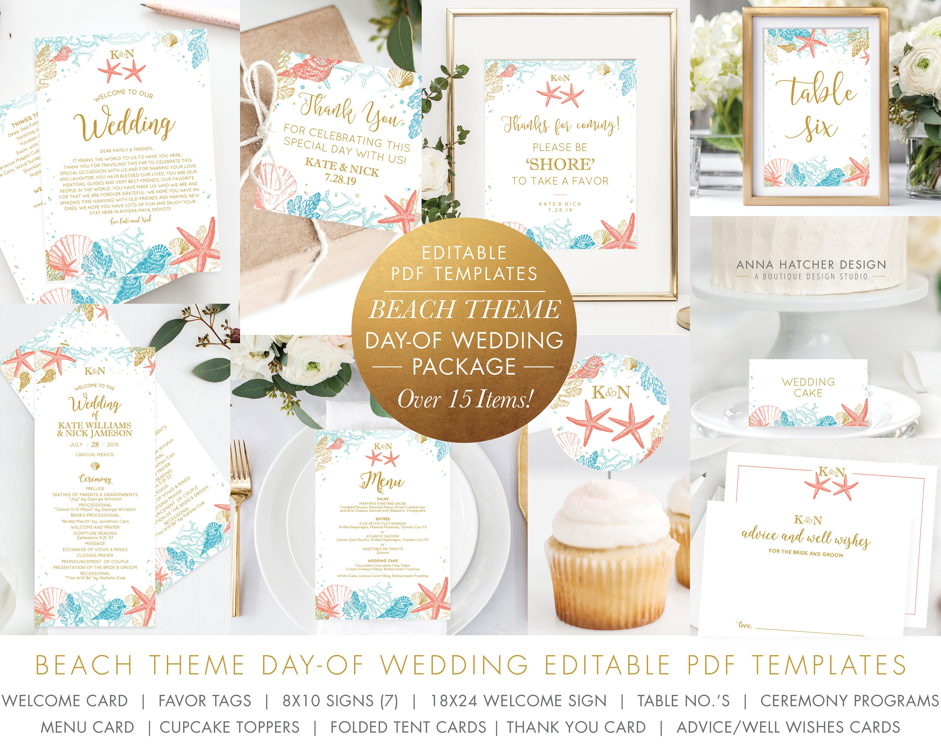 Beach Wedding Editable PDF Templates, Welcome Card, Cupcake, Favor Tag,  Sign, Table Numbers, Program, Menu, Thank You and Advice Card, WED1H