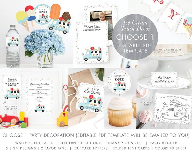 Ice Cream Truck Birthday Party Decoration 1 Template DIY