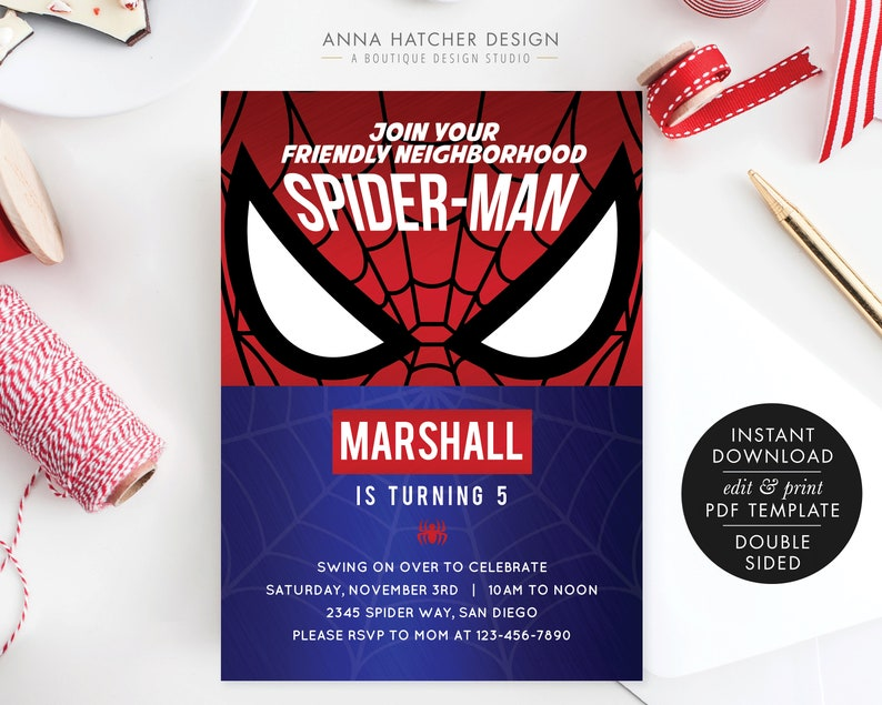 Spider Man Birthday Invitations For Any Age Spiderman Etsy