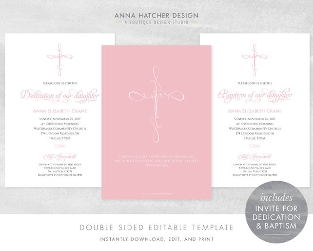 Baby Dedication And Baptism Invitations Pink Girl Cross Invitations