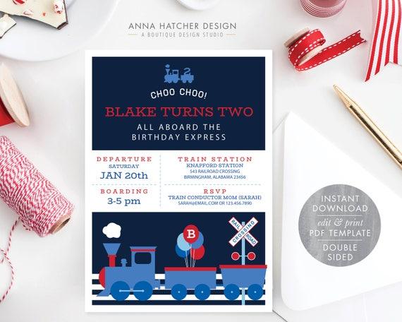Train Birthday Invitation Choo Ticket All Aboard