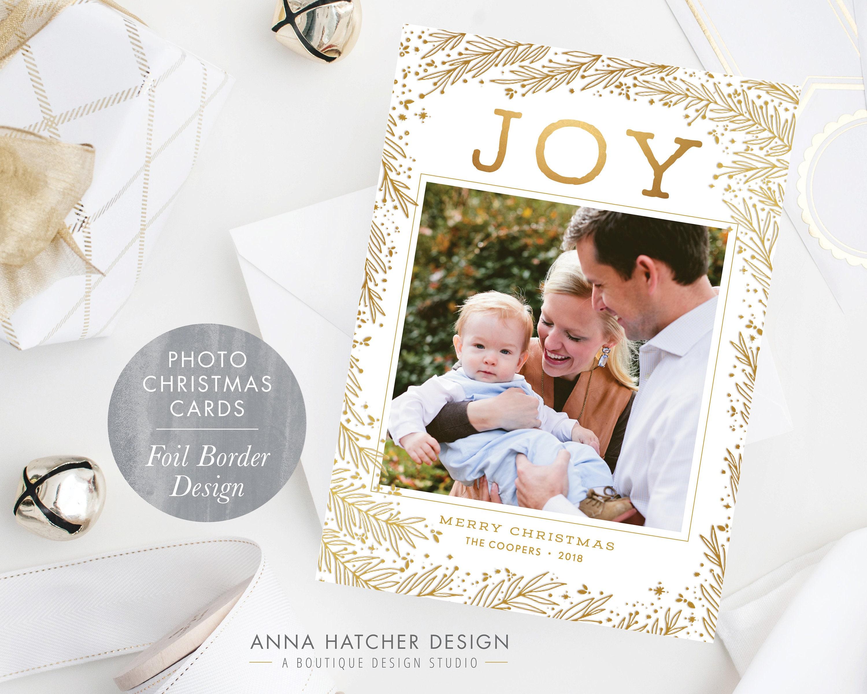 Foil Christmas Card JOY Foliage border in Gold Foil Silver | Etsy