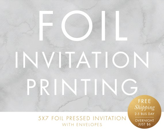 foil invitation printing free shipping 5x7 double sided etsy