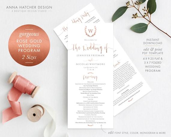 rose gold wedding program 2 sizes monogram wreath ceremony etsy