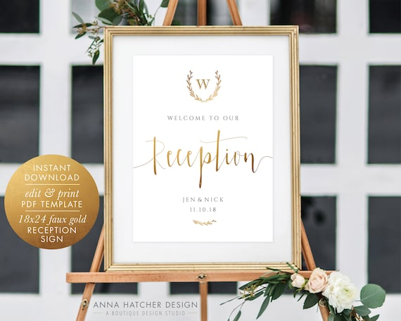 Wedding Reception Sign Welcome To Our Reception 18x24 Etsy
