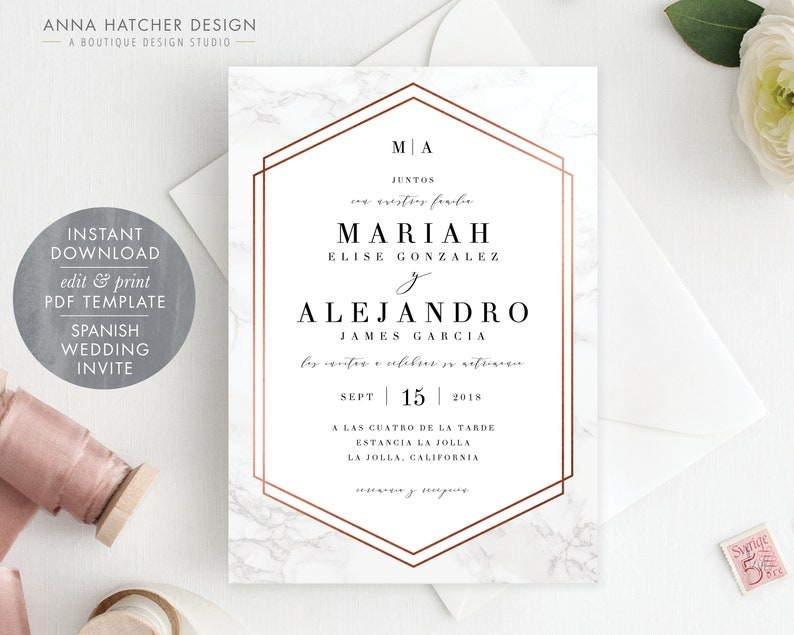 Spanish Marble And Rose Gold Wedding Invitation Diy Editable Pdf Template Spanish Wedding Invite Monogram Initials Wed1k