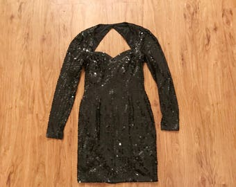 Vintage 80s Black Sequin Cut Out Long Sleeve Party Dress