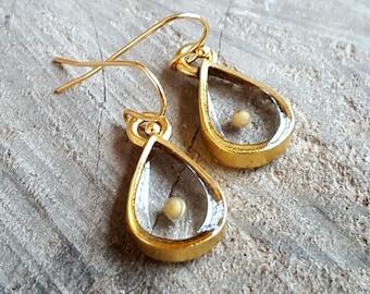 Mustard Seed Earrings- Religious Faith - Gold Teardrop Dangle Earrings - Mustard Seed Jewelry - Christian Gift - Bridesmaids Gift