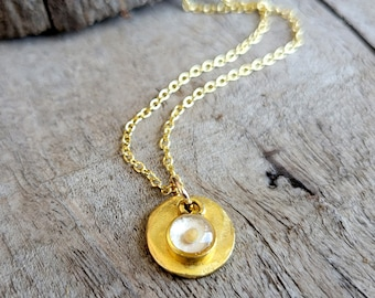 Gold Mustard Seed Disc Necklace - Christian Faith Necklace - Gold and White Mustard Seed Necklace - Baptism Gift - Confirmation Gift