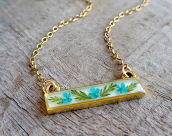 Real Flower Necklace - Teal Blue Flower Bar Necklace - Nature Jewelry - Real Flower Jewelry - Queen Anne's Lace