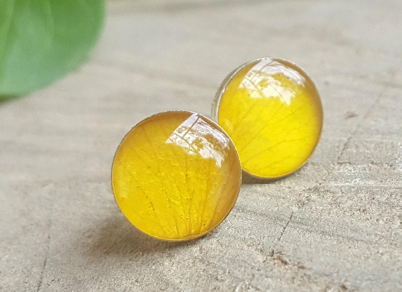 Real Yellow Rose Petal Stud Earrings Real Flower Earrings Etsy