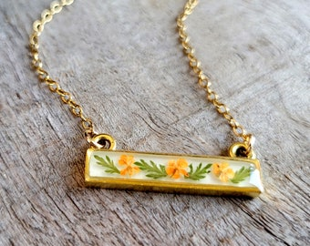 Real Flower Necklace - Orange and Gold Flower Bar Necklace - Nature Jewelry - Real Flower Jewelry - Queen Anne's Lace