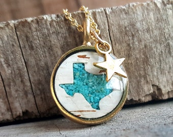 Texas Necklace - Birch Bark and Crushed Turquoise Necklace in Gold -Texas Jewelry - Nature Jewelry