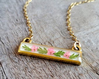 Real Flower Necklace - Pink and Gold Flower Bar Necklace - Nature Jewelry - Real Flower Jewelry - Queen Anne's Lace