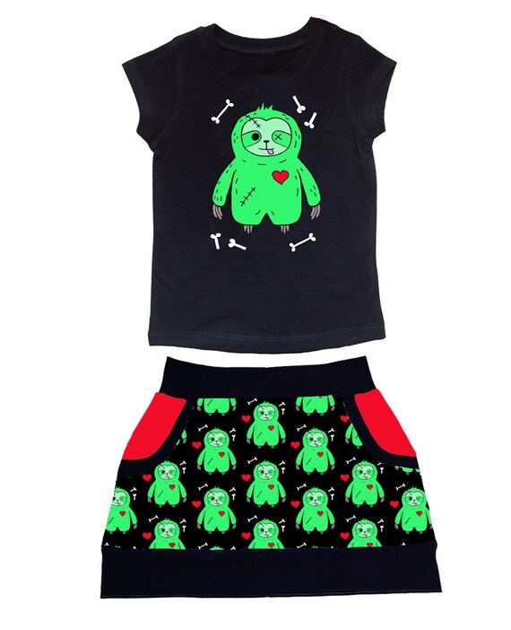 2f027e57b Zombie Sloth Jersey Skirt and T-shirt Outfit Kids Girls
