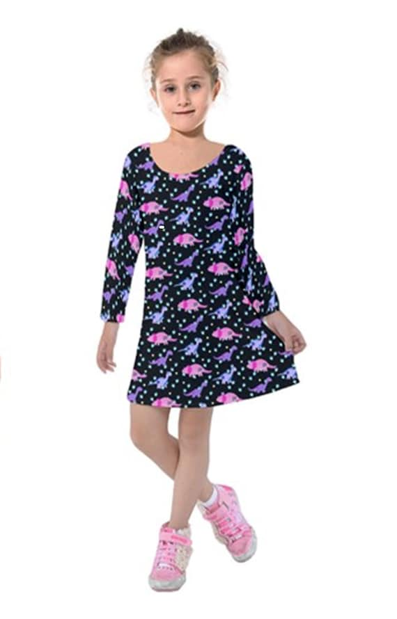 Girls Black Dinosaur Tattoo Dress with Long Sleeves  47e286492