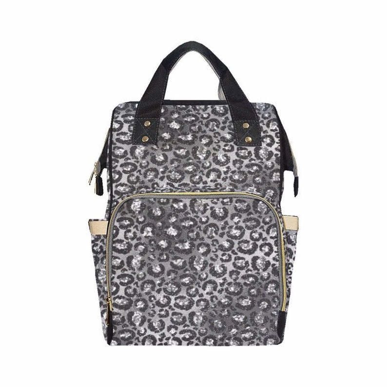 Grey Leopard Print Baby Diaper Nappy Changing Backpack Bag ...