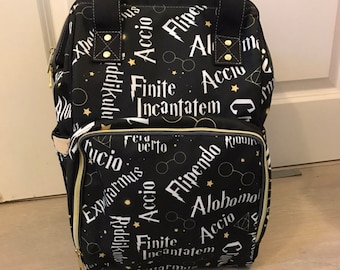 Wizard Spell Words Inspired Baby Diaper Nappy Changing Backpack Bag