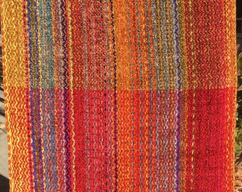 Handwoven Shawl-Multicolor Chenille-Cayenne/Bronze/Cayenne weft