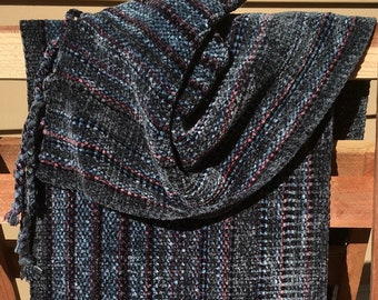 Handwoven Scarf- Blue, grey Chenille