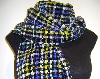 Handwoven Scarf-Plaid: Black, White, Blue, Green Chenille