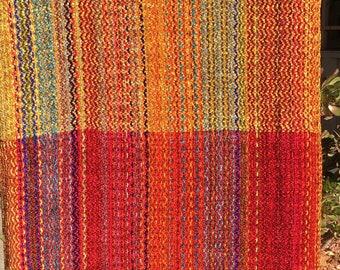 Handwoven Shawl-Multicolor Chenille-Cayenne/Golden Rod/Cayenne weft