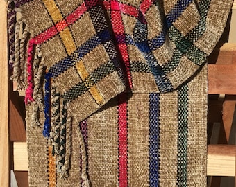 Handwoven Scarf- Beige, Primary Colors Chenille