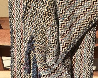 Handwoven Scarf-Light Beige, Blue, Grey Chenille