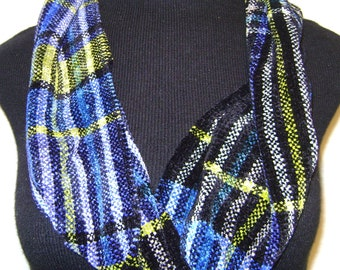 Handwoven Infinity Scarf- Plaid: Black, White, Blue, Green Chenille